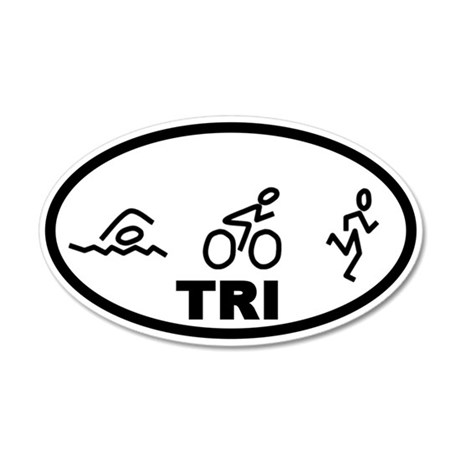 TRI Triathlon 35x21 Oval Wall Decal