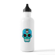 CANDY SKULL-Light Blue Hawiian Shirt Water Bottle
