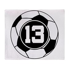 Soccer Number 13 Player Throw Blanket