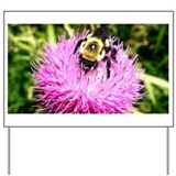 Bumble bee on Magenta Thistle Flower Yard Sign