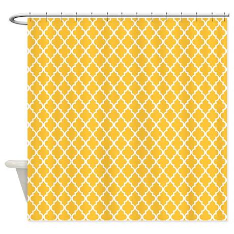 yellow quatrefoil shower curtain by mcornwallshop