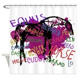 The Multilingual Horse Shower Curtain