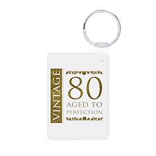 Fancy Vintage 80th Birthday Keychains