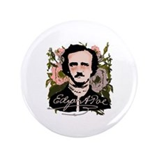 "Edgar Allan Poe with Faded Roses 3.5"" Button"