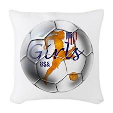 USA Girls Soccer Woven Throw Pillow