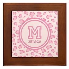Pink Monogram Framed Tile