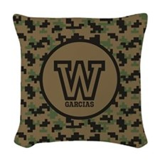 Geek Camouflage Monogram Woven Throw Pillow
