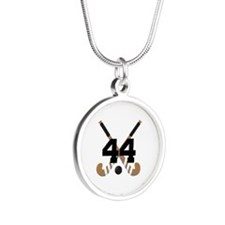 Field Hockey Number 44 Silver Round Necklace