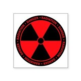 Red Radiation Symbol Oval Sticker