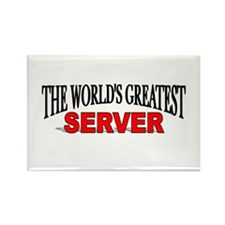 """The World's Greatest Server"" Rectangle Magnet"