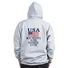 USA Kicking Ass Since 1776 Zip Hoodie