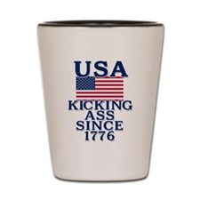 USA Kicking Ass Since 1776 Shot Glass