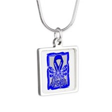 Huntington Disease Hope Silver Square Necklace
