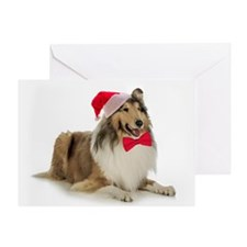 Santa Collie Christmas Card