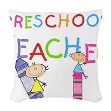 crayonpreschoolteacher.png Woven Throw Pillow