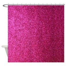 Hot pink faux glitter Shower Curtain