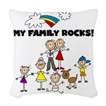 FAMILY STICK FIGURES Woven Throw Pillow