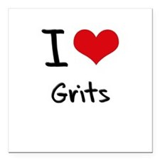 "I Love Grits Square Car Magnet 3"" x 3"""