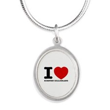 Political Designs Silver Oval Necklace