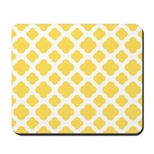 Lemon Yellow and White Quatrefoil Pattern Mousepad