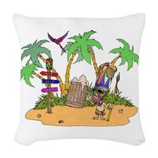 Tiki Alcohol island Woven Throw Pillow