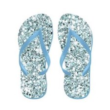 Blue Silver Glitter Sequin Flip Flops Wedding