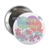 "Pastels Happy Birthday 2.25"" Button (100 pack)"