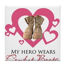 My Hero Wears Combat Boots Tile Coaster