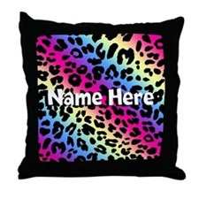 Personalized Rainbow Leopard Throw Pillow