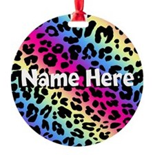 Personalized Rainbow Leopard Ornament