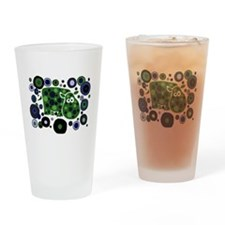 Funky Hippo Art and Circles Drinking Glass