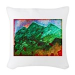 Green Mountains Woven Throw Pillow