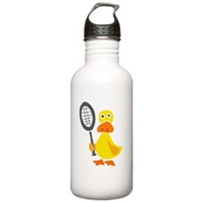 Primitive Duck Playing Tennis Water Bottle
