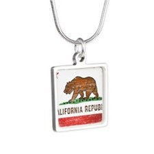Vintage California Flag Silver Square Necklace