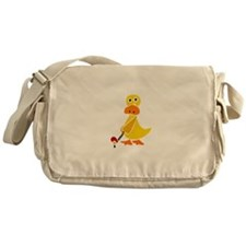 Primitive Duck Playing Golf Messenger Bag
