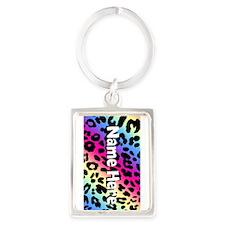 Custom Rainbow Leopard Keychains