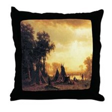 Yosemite Indian Encampment Throw Pillow