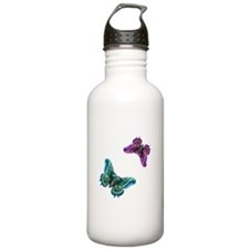 Purple and Teal Butterflies Water Bottle