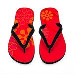 Red Tropical Flip Flops