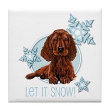 Let it Snow Irish Setter Tile Coaster