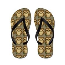 Cute Brown Owl Flip Flops