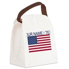 Custom American Flag Canvas Lunch Bag