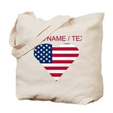 Custom American Flag Heart Tote Bag
