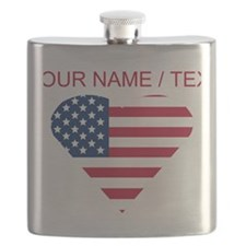 Custom American Flag Heart Flask