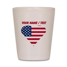 Custom American Flag Heart Shot Glass