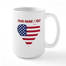 Custom American Flag Heart Mug