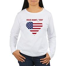 Custom American Flag Heart Long Sleeve T-Shirt