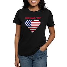 Custom American Flag Heart T-Shirt