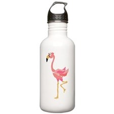 Funky Pink Flamingo Art Water Bottle