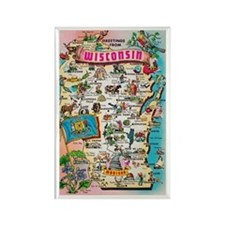 wisconsin map Rectangle Magnet (10 pack)